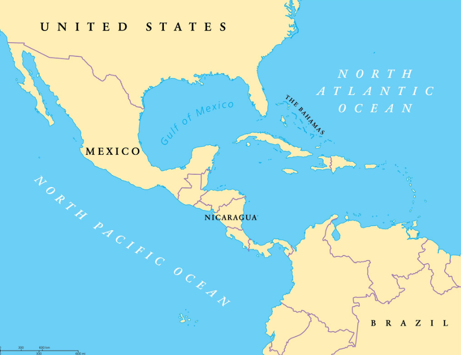 Map of Nicaragua in Central America